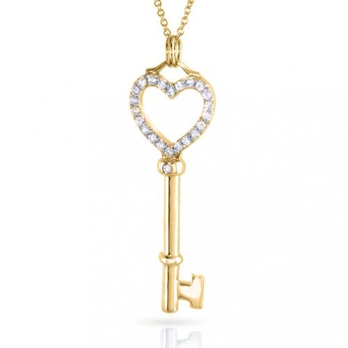 Bling Jewelry 14K Gold Vermeil Open Heart Key Pendant with CZ Stones 18in