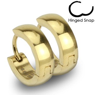 Pair of 316L Stainless Steel Gold IP Huggie Hoop Earrings; Comes With Free Gift Box