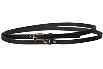 """1/2"""" (13 mm) Skinny Solid Leather Double Wrap Belt Size: S/M - 32"""" Color: Black"""