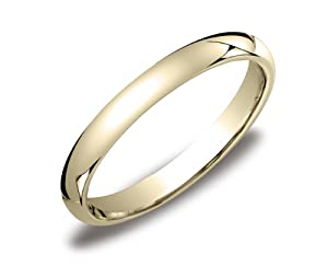Women's 14k Yellow Gold 3mm Comfort Fit Plain Wedding Band, Size 6