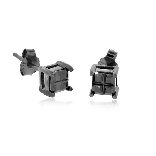 Black on Black Square Grid .925 Sterling Silver Studs / 4mm