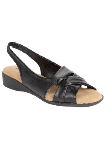 Comfortview Women'S Wide Pearl Sling Sandal (Black,10 1/2W)