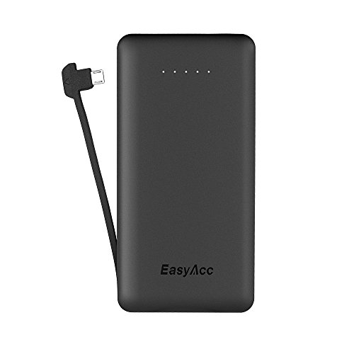 EasyAcc 6000mAh Ultra-Slim External Battery Smart Output Power Bank Portable Charger with Built-in Micro USB Cable for Smartphone - Black (Ultra Micro Charge Cable compare prices)
