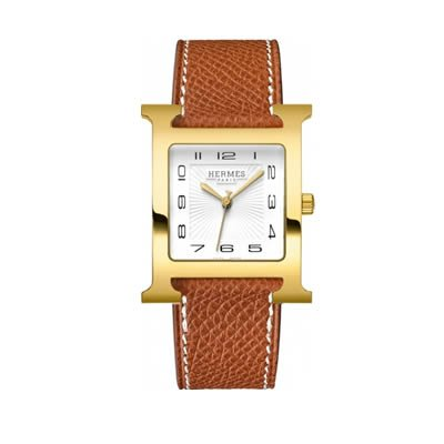 Hermes H Hour Large Gold Plated Quartz Watch - 036842WW00