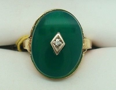 10K GOLD OVAL GENUINE NATURAL CHRYSOPRASE RING WITH SMALL DIAMOND