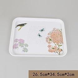 New European style rectangular glass tray tea tray melamine fruit bowl creative plastic non-slip thickening minimalist modern hotel Green