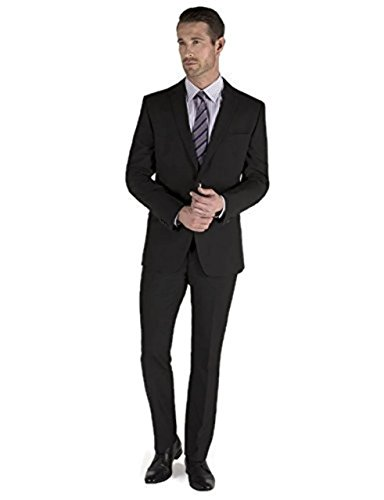Men's 2 Piece Single Breasted 2 Button Suit – Black