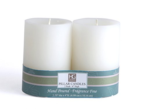 Set of 2 Hosley® Unscented 4inch Pillar Candles