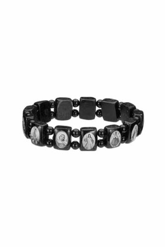 Saints Bracelet - Black Wood - Small Squares with Black Color Beads Spacers and Black and White Images - Made in Brazil