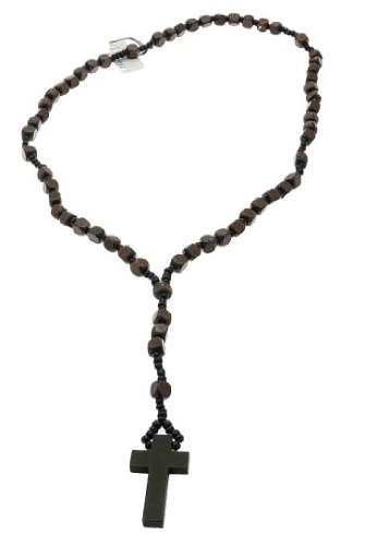 Mens Womens Brown Wood Rosary Bead Beads Necklace