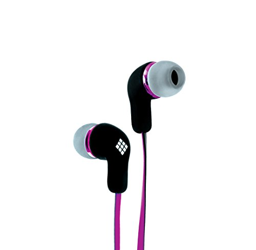 Polaroid Php736Pu Tangle Free Earbuds With Mic For Iphone, Galaxy, Ipad And Android, Purple