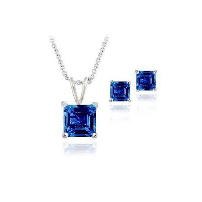 Sterling Silver 3.6ct Created Sapphire Square Solitaire Pendant & Stud Earring Set