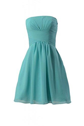 Daisyformals Short Strapless Chiffon Bridesmaid Dress(Bm718)- Tiffany Blue