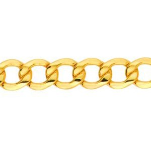 14K Solid Yellow Gold Curb Lite Chain Necklace 6.2mm thick 22 Inches