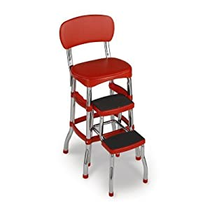 Cosco Red Retro Counter Chair Step Stool from Cosco
