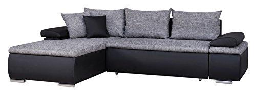 Mein Sofa Cali 11.5- Eckgarnitur Cali mit Schlaffunktion und Bettkasten, 274 x 85 x 180 cm - Sitzhöhe circa 42 cm, mix aus Kunsteleder und Webstoff, Recamiere rechts oder links verwendbar