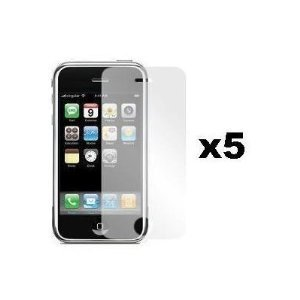 Skque Transparente Displayschutzfolie 5er Pack für iPhone 3. Generation + 1 x Reinigungstuch