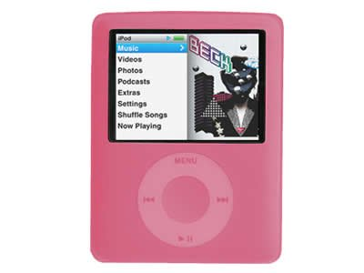 Pink 3G silicone case for the ipod nano 3G + Neck Strap