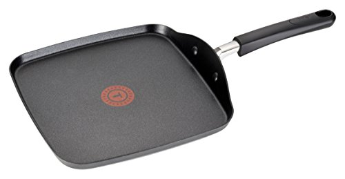 T-fal C03713 OptiCook Hard Anodized Thermo-Spot Scratch Resistant Titanium Nonstick Oven Safe PFOA Free Square Griddle Cookware, 10.25-Inch, Black