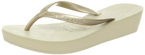Havaianas Womens High Light Flip Flop,Sand Grey/Light Golden,35 BR/5-6 M US