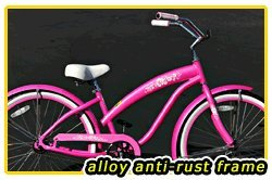 Anti-Rust aluminum frame, Fito Modena Alloy 1-speed Women's Pink Beach Cruiser Bike Bicycle Micargi Schwinn Nirve Firmstrong style