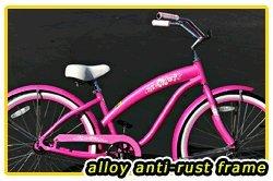 Anti-Rust aluminum frame, Fito Modena Alloy 1-speed Women's Pink Beach Cruiser Bike Bicycle Micargi Schwinn Nirve Firmstrong style