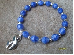 Blue Cloudy Look Glass Beaded Awareness Bracelet - (Fundraising Idea) Myositis Arthritis Alopecia, Ankylosing Spondylitis, Acute Respiratory Distress Syndrome (Ards), Brachial Plexus Injuries, Child Abuse, Children's Healthy Weight, Chronic Fatigue Syndrome, Colitis (Alt Purple), Colon Cancer (Alt Brown), Colorectal Cancer (Alt Brown), Crime Victim's Rights, Crohn's Disease (Alt Purple), Cru Du Chat Syndrome, Drowning Awareness, Dysautonomia, Dystonia, Drunk Driving, Education, Epstein-barr Virus, Erb's Palsy, Familial Polyposis (Alt Brown), Free Speech, Foster Care Awareness, Guillain Barre Syndrome, Huntington's Disease, Hurricanes, Hystiocytosis, Ichthyosis, Interstitial Cystitis, Langerhans Cell Hystiocytosis, Leukodystrophies, Me/ Cfids Awareness Bracelet