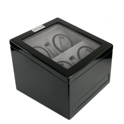 Quad Watch Winder For Four Automatic Watches with Two Holders and 5 Watch/Pen Storage Drawer Black Wood Finish