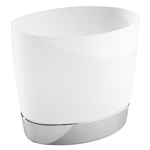 InterDesign Aria Oval Wastebasket Trash Can, Clear/Chrome (Modern Garbage Can compare prices)