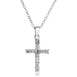"Pugster 925 Sterling Silver Clear Crystal Celtic Cross Diamond Accent Religion Pendant Necklace 18"" Gift Pendants"