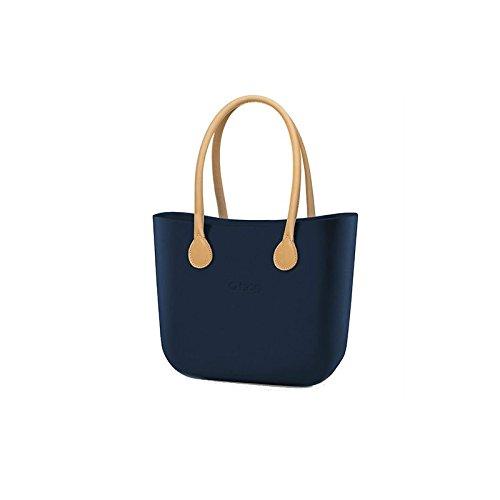 Borsa O Bag grande blu manici eco pelle beige e sacca