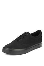 Contrast Sole Lace Up Trainers