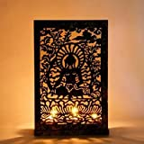 Tea-Light Holder Screen Metal & Glass - Buddha Black - B00PROIH5E