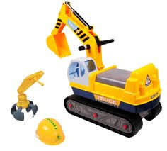 Childrens Ride on 2 IN 1 Excavator Digger & Crane Grabber Kids Farm Outdoor Toy Ride On Tractor Digger