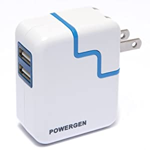 PowerGen Dual USB 3.1A 15w Travel Wall Charger with Swivel plug - white