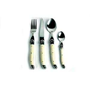 Amazon.com: 24 Piece Laguiole Bee Accent Stainless Steel Flatware ...