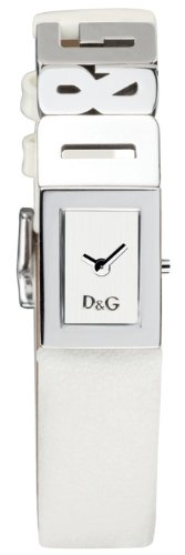 D & G Shout Ladies Quartz Watch DW0508 With Silver Analogue Dial, Stainless Steel Case And White Leather Strap