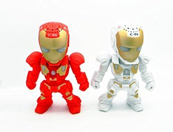 Apltch® New Iron Man Wireless Bluetooth Speaker C-89 Mini Portable Children Style LED Light Speakers Stereo Music Player Support FM TF For Smartphones Tablets PC All Blutooth Devices(White ) (Iron Man Speaker compare prices)