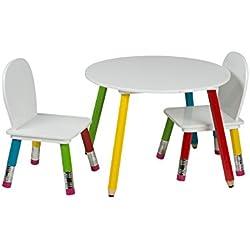 Kindersitzgruppe Kinderzimmer Holz Möbel Tisch Stühle Spieltisch Maltisch 3 tlg.