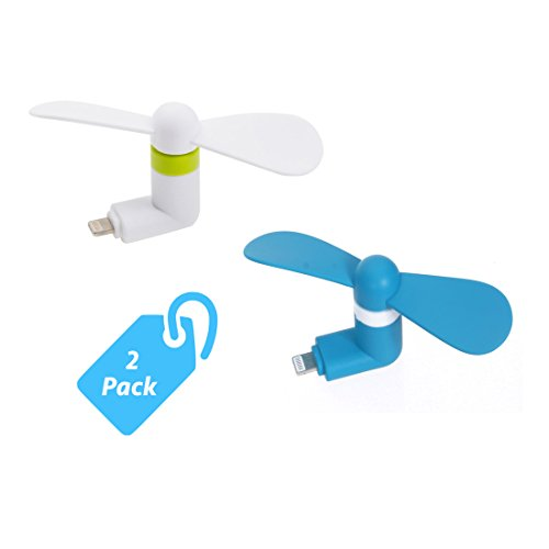 StyleTech Inc. Portable Cool Mini Rotating Fan for Apple Lighting Port Compatible with iPhone/iPods/iPad (2.) White + Blue) (Cyclone Inline Fan compare prices)