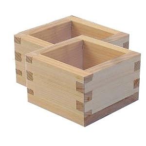 Amazon.com | Square Wood Sake Box (Sake masu) Set of 2: Wood Crate
