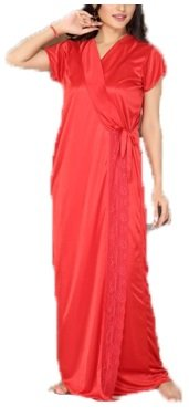 Hot 'N' Sweet Womens Satin Nightwear ,Red ,Free Size