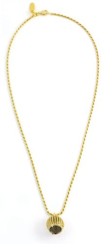 Assya Gold Vermeil Short Cage Pendant Necklace with Smokey Quartz of Length 45cm