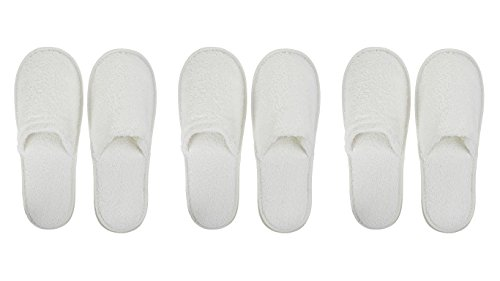 Closed Toe White Pevonia Spa Slippers / Hotel Slippers (3 Pack) (Slippers Hotel compare prices)