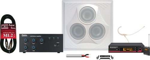 Wireless Conference Room Sound System 1 Vector Ceiling Speaker, Mixer Amplifier, Headworn Microphone