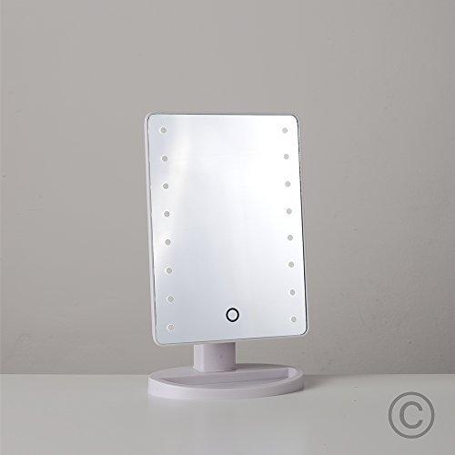 Espejo rectangular luminoso con luz led minisun en cromo for Espejos para bano con luz y repisa