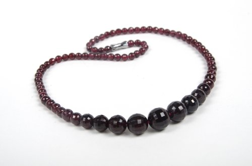 A Grade Natural Garnet 4-12mm Faceted Round Bead Graduated Necklace 18''