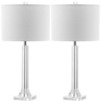 Safavieh Lighting Collection Tyrone Crystal Column 27-inch Table Lamp (Set of 2)