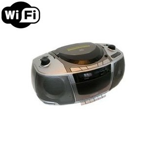 Wireless Spy Camera with WiFi Digital IP Signal, Recording & Remote Internet Access (Camera Hidden in Boombox)