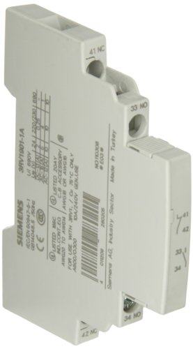 Siemens 3RV19 01-1A Motor Starter Protector Auxiliary Switch, Lateral Mount, 1 NO + 1 NC Contact Type